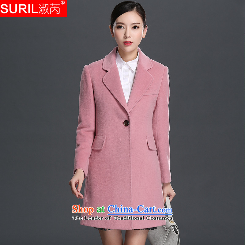 Mrs and woolen coat female non-cashmere overcoat female 2015 new winter clothing in long hair? jacket 151697 Gray Pink M