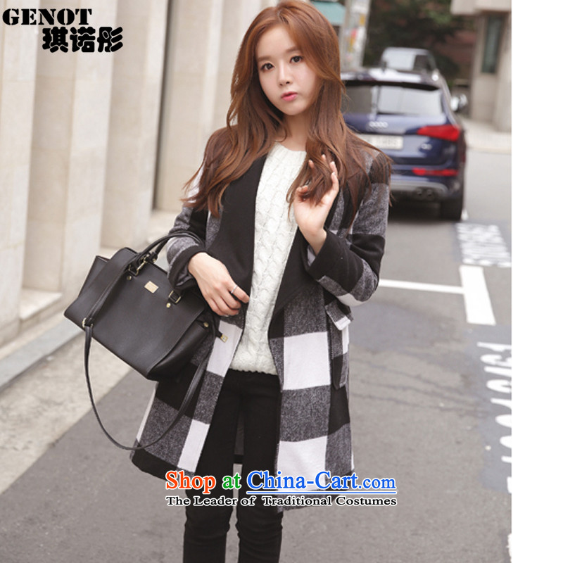 The聽 2015 autumn tung hsin load new grid gross girls jacket? Long Korean Sau San a wool coat students jacket聽 _9981聽checkered聽L