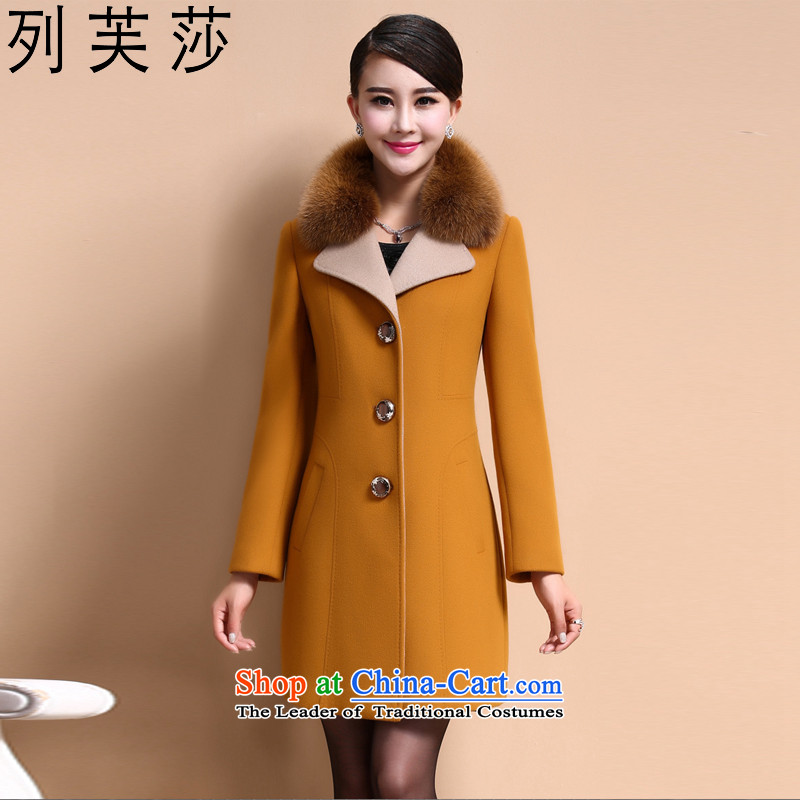 The list be Windsor Korean autumn and winter new wool coat jacket women gross? larger women in thick long long-sleeved nagymaros for Sau San? coats female turmeric Yellow 8008燲L