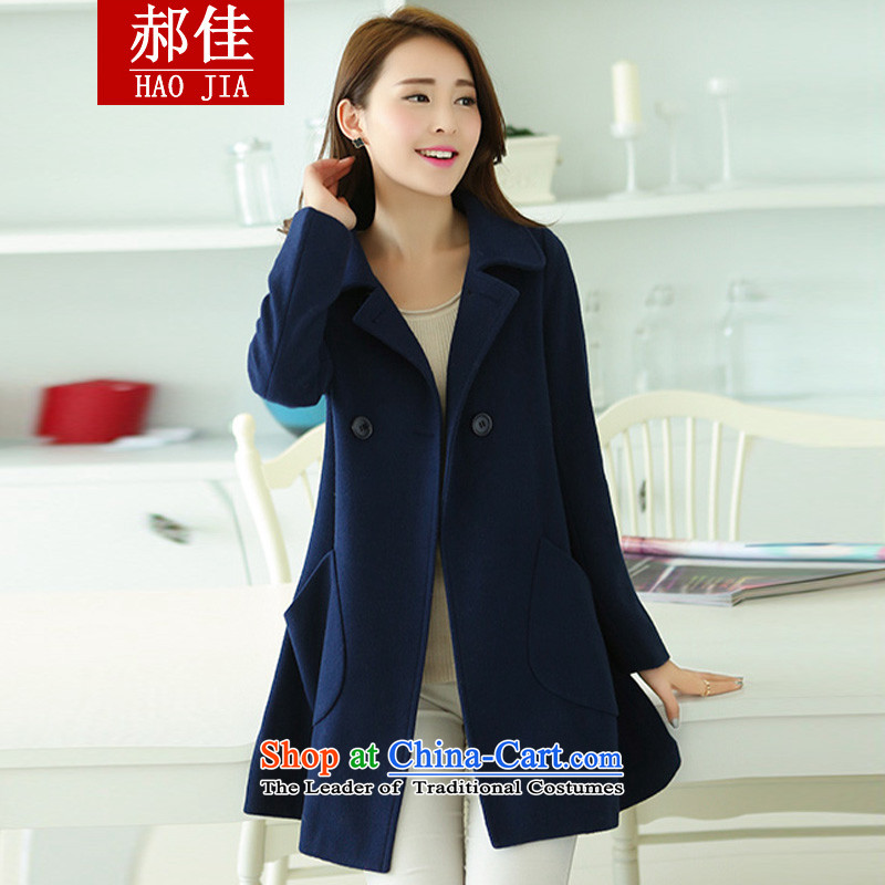 Hao Kai to increase women's code 200 catties thick sister video thin hair? butted long a wool coat navy 3XL145 catty -165 catty