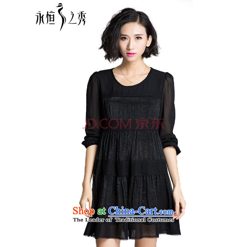 The Eternal-soo to xl women's dresses thick sister 2015 Summer new product expertise, Hin thick mm thin, Korean chiffon loose black skirt A poverty long-sleeved black燲L