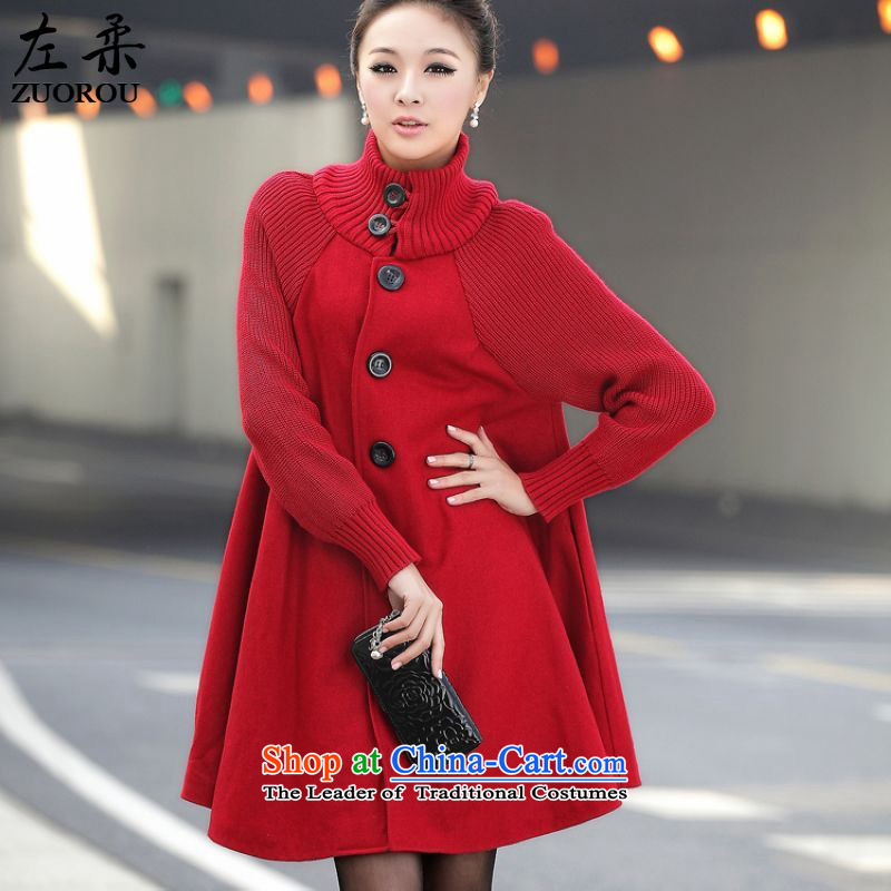 Sophie聽2015 autumn and winter left of Korean version of large numbers of ladies thick mm video thin so sub cloak Wind Jacket coat jacket is Ms. gross red聽XL