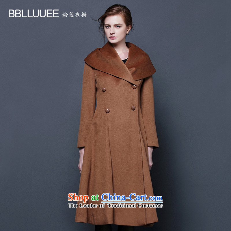 Blue wardrobe 2015 BBLLUUEE autumn and winter new large roll collar double-side waist long woolen coat female coffee and?XL