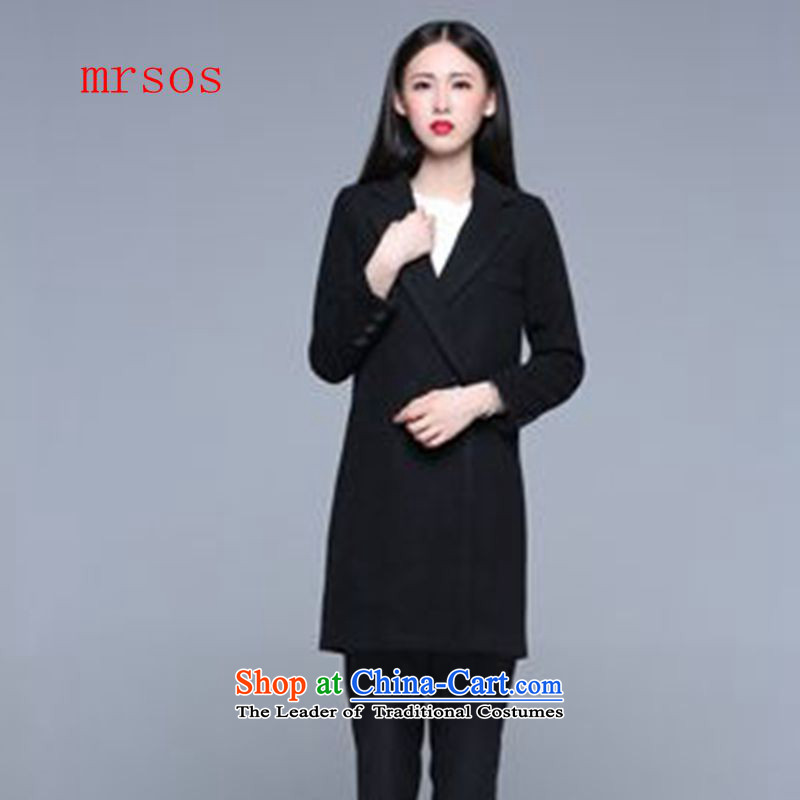 The new 2015 MRSOS autumn and winter western stars in pure color temperament long a wool coat Ms. Sau San Mao jacket black S?