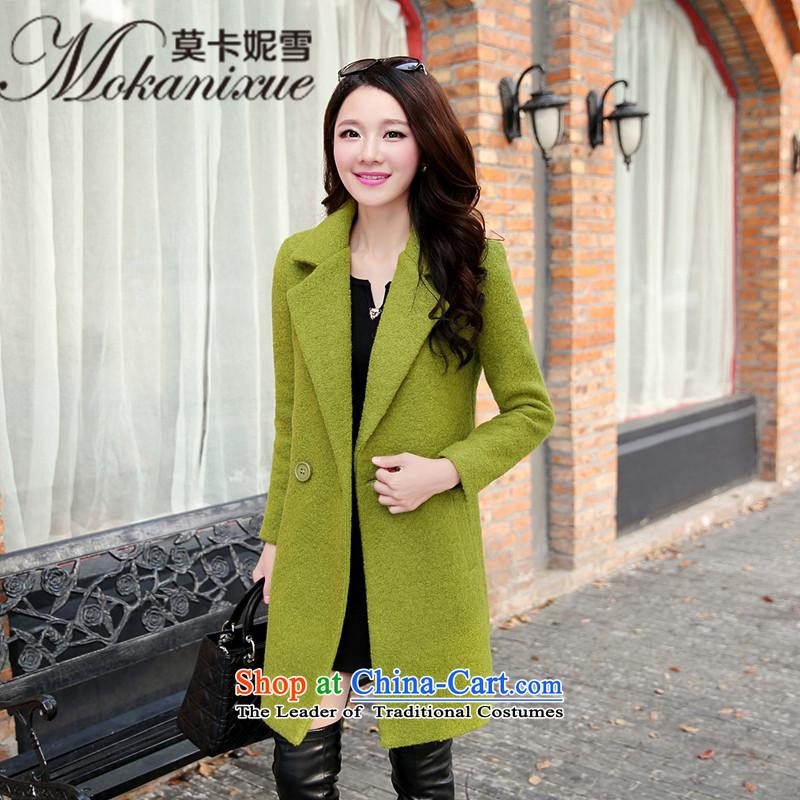 Morcar Connie snow? 2015 winter coats female new women's Korea version in the video thin long Sau San, temperament a wool coat green聽M