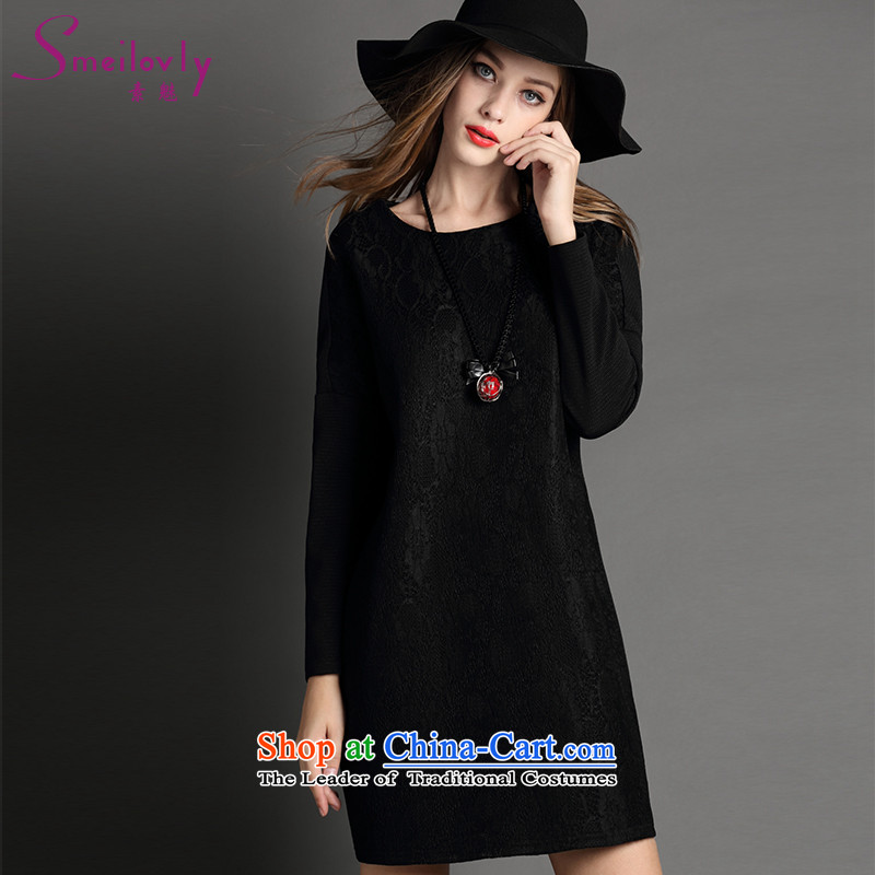 The Director of the women's code to increase the load new autumn 2015 ultra high-end fashion lace stitching elegant graphics thin long-sleeved dresses autumn2032Black Large XXL around 922.747 140