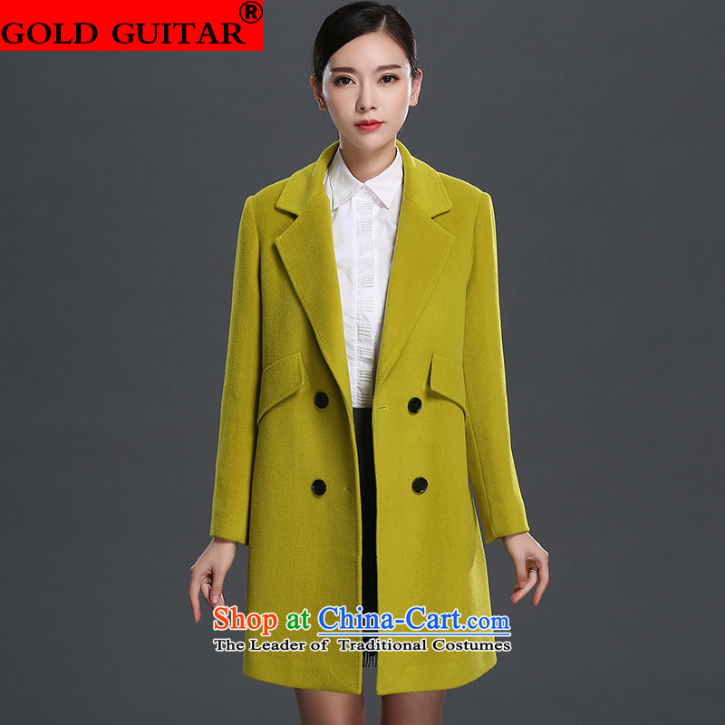 Non-cashmere overcoat Kim guitar woolen coat female 2015 new winter clothing in long Sau San double-Women's gross? jacket聽1511聽mustard yellow聽M