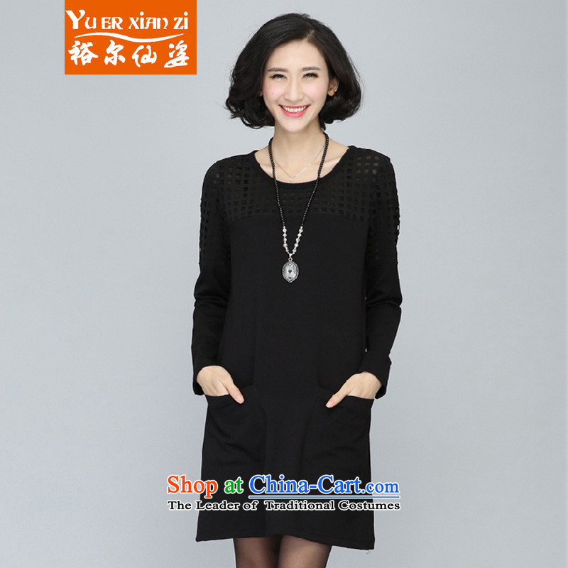 Yu's sin for extra women 200 catties mm2015 thick autumn and winter new dresses long-sleeved video thin straight Thick coated female skirts sister Sau San black 5XL 175-200 recommends that you Jin