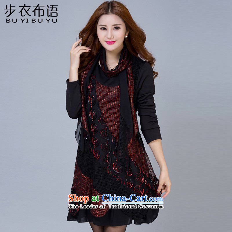 Step Yi Sorbian 2015 winter clothing new larger women with thick mm long-sleeved mother plus lint-free thick dressesB80713XL wine red