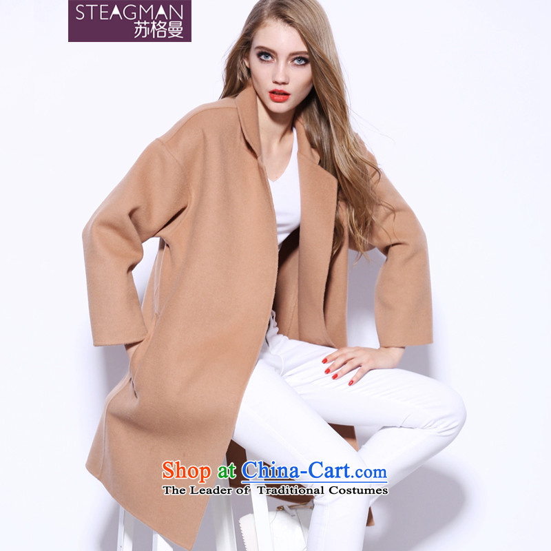 Su Ge Cayman 2015 autumn and winter new plain manual two-sided cashmere cloak? female gross in long wool coat female 80040? And color燣