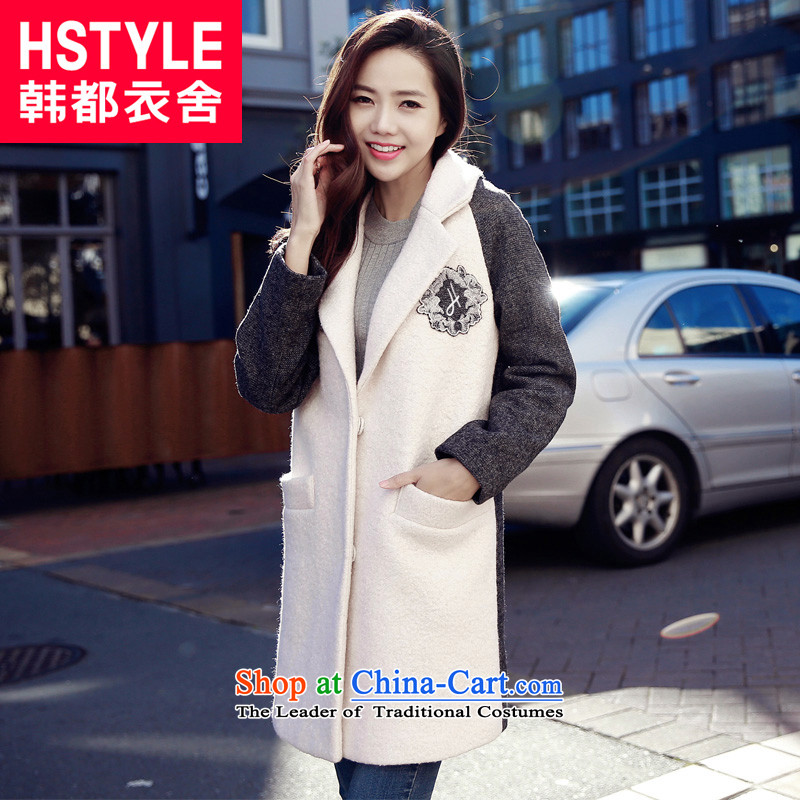 Korea has the Korean version of the Dag Hammarskj鰈d yi 2015 winter clothing new women's graphics thin stitching put gross YK52086爉eters jacket? White燤