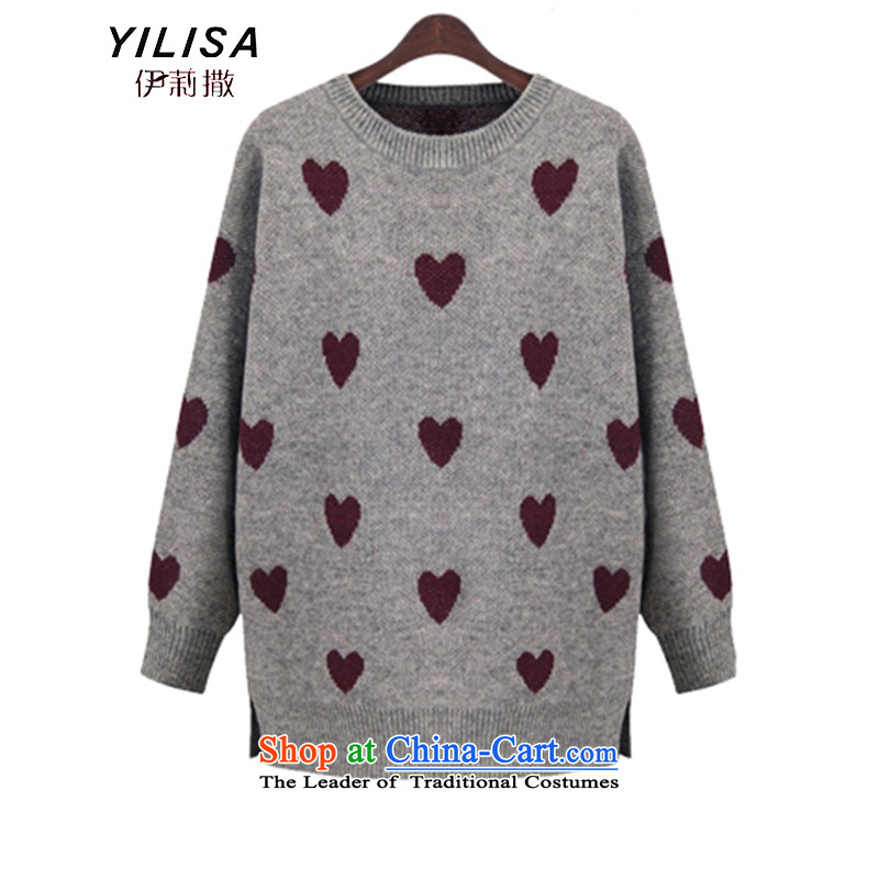 Elizabeth sub-New_ Autumn 2015 to increase the number of women with thick MM autumn and winter sweater with sleek and versatile graphics thin, forming the knitwear sweater m9155 gray燲XL