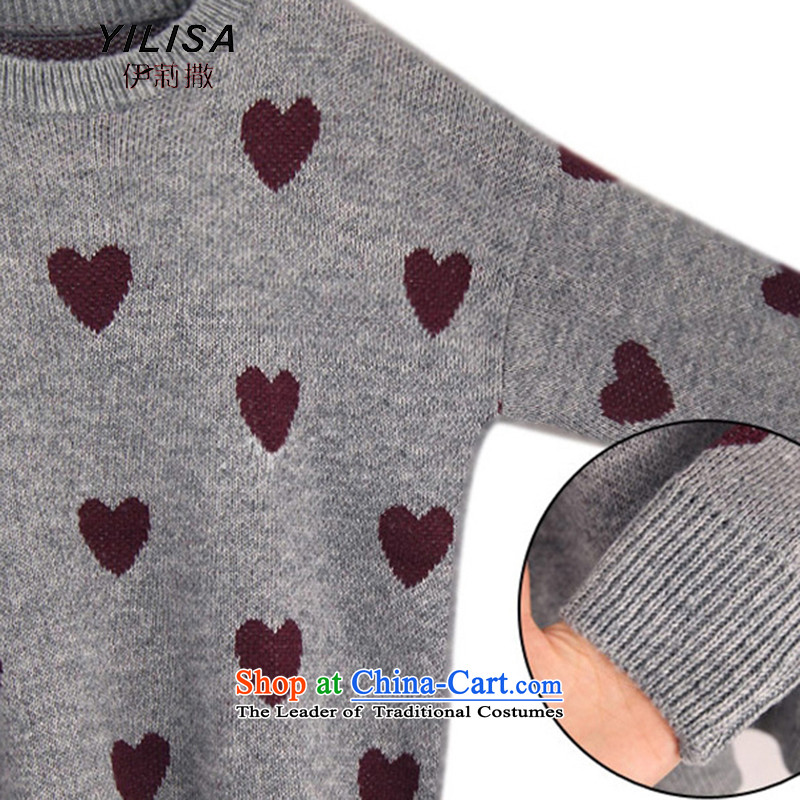 Elizabeth sub-New) Autumn 2015 to increase the number of women with thick MM autumn and winter sweater with sleek and versatile graphics thin, forming the knitwear sweater m9155 grayXXL, Elizabeth YILISA (sub-) , , , shopping on the Internet