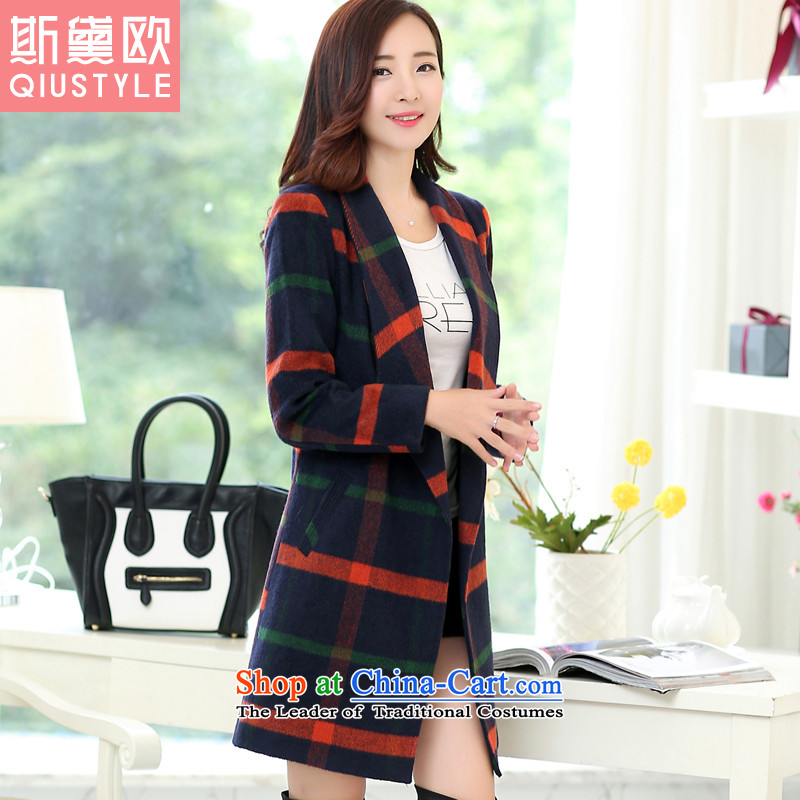 The Doi OSCE gross girls jacket? long爓inter 2015 new Korean Sau San Plaid a wool coat Women's 5,168 Tibetan blue-red checkered燣