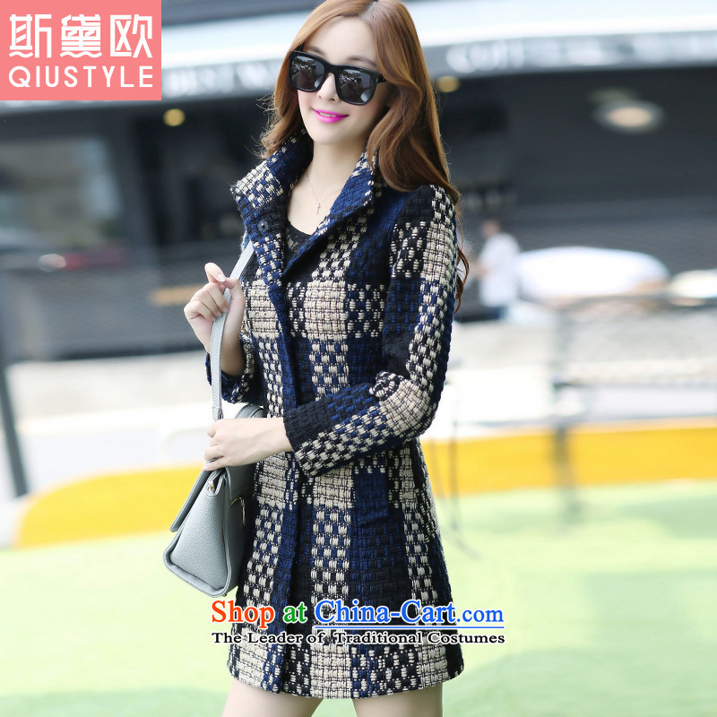 The Doi OSCE gross? 2015 winter coats female new Korean version of Sau San? In gross coats of grid 5 169 Tibetan blue plaid XL