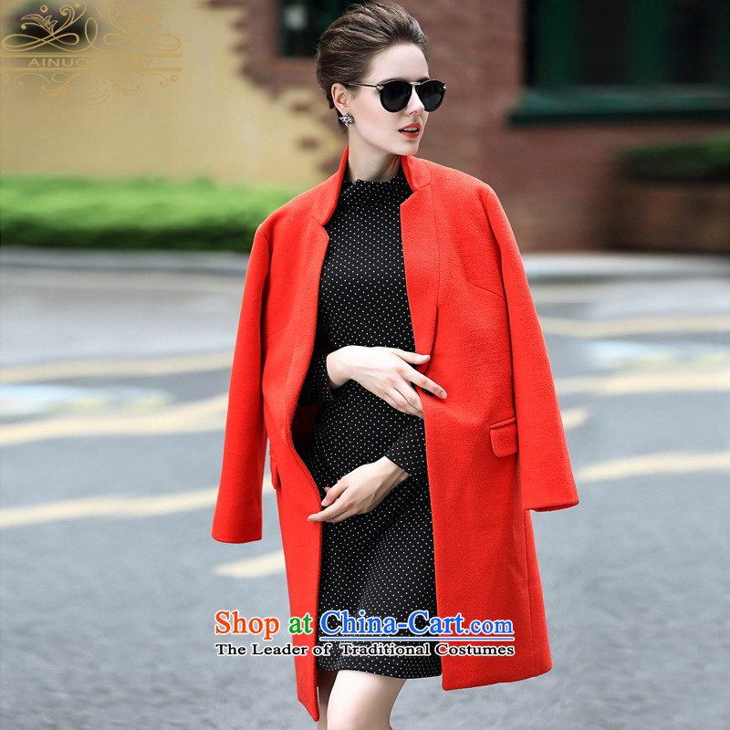 Ainuoer.my2015 winter clothing new gross? female Sau San suit coats collar woolen coat in long Orange S
