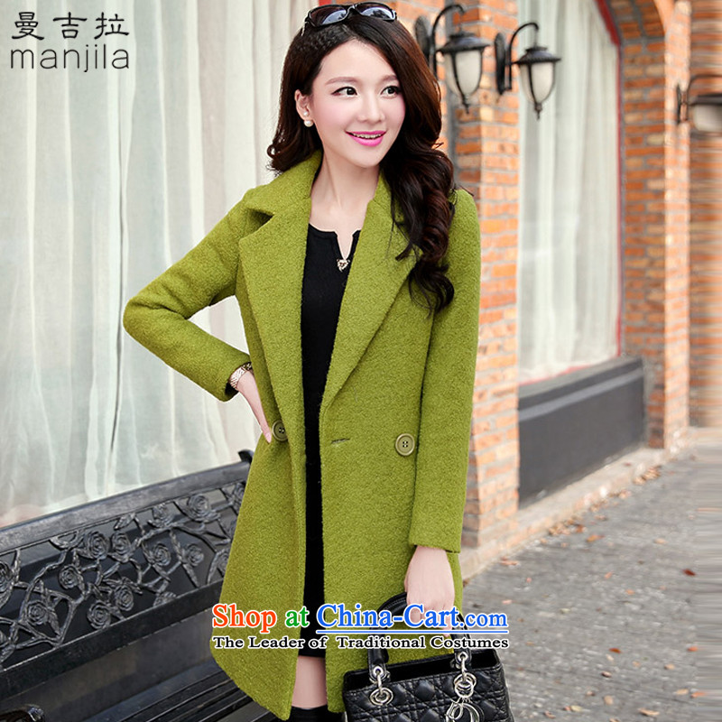 Mangueira 2015 autumn and winter female Korean version of the new video in Sau San wool thin long coats jacket Y8004 gross? green聽L