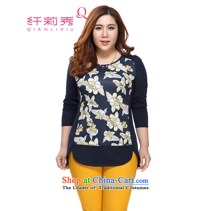 The former Yugoslavia Li Sau 2015 autumn large new mount female round-neck collar knocked the stitching flower stamp stretch long-sleeved T-shirt 0731 possession blue4XL