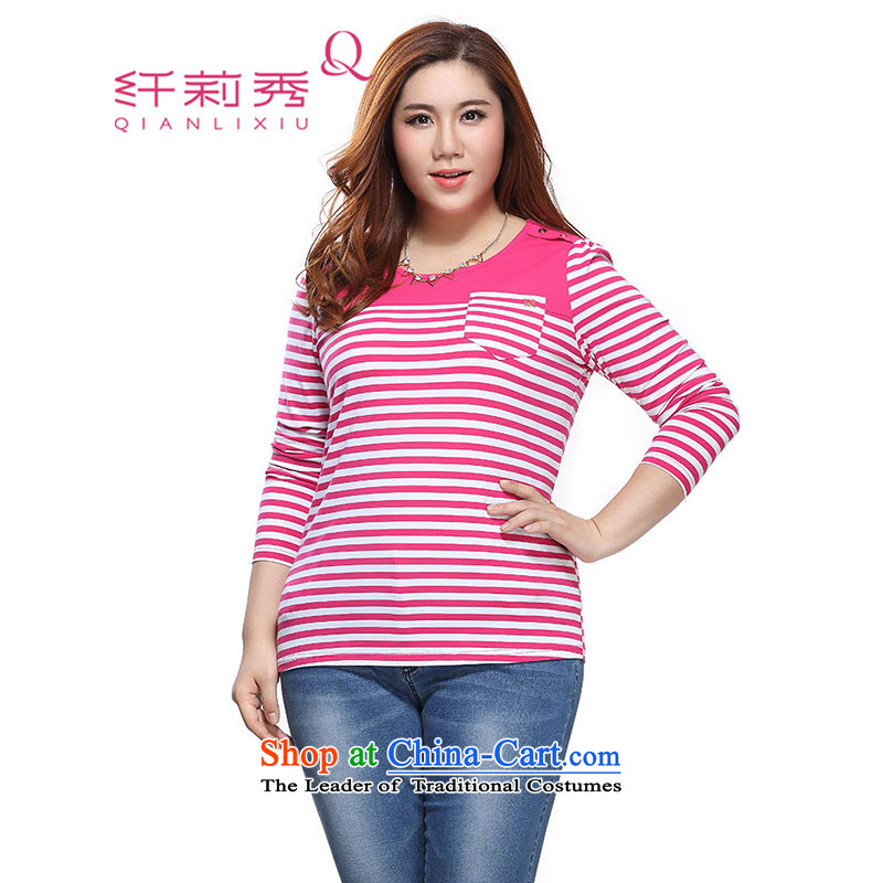The former Yugoslavia Li Sau 2015 autumn large new mount female knocked color stitching round-neck collar streaks comfort kit and long-sleeved T-shirt 0237 better Red�L