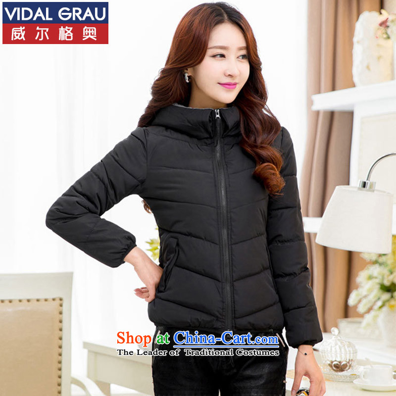 Maximum number of female 泾蜮 VIDALGRAU MM thick winter coats cotton coat of short black�L_200 BS3565 around 922.747