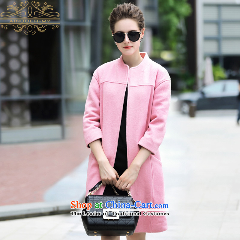 Ainuoer.my2015 new winter coats? women and seven gross-sleeved solid color neck long woolen coat pink M