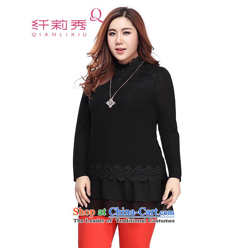 The former Yugoslavia Li Sau 2015 autumn large new mount female billowy flounces collar lace chiffon lace long sleeved clothes 0089 Black�L
