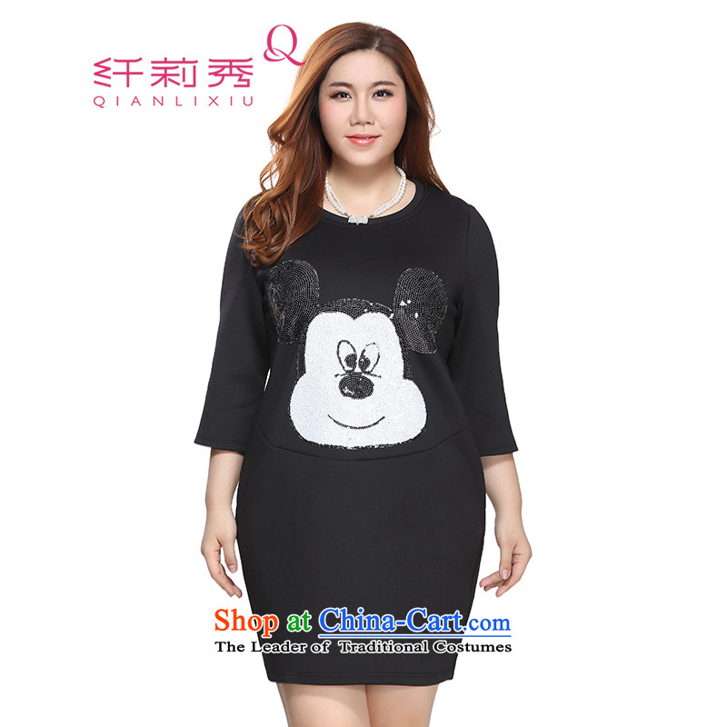 The former Yugoslavia Li Sau 2015 autumn large new mount female round-neck collar Mickey pattern Loose Cuff cocoon-fifth dresses Quan Zheng Chao Gang Ao Tai Zi 0058 Black XL