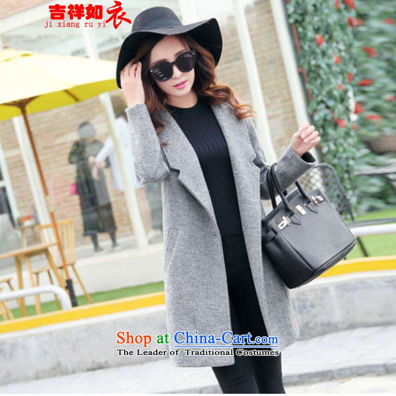 As clothing and auspicious 2015 autumn and winter new Korean fashion wool coat?? jacket women 8178 gross gray. M