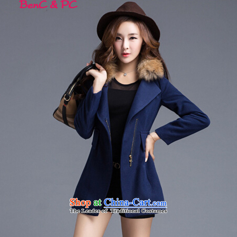 Gross? 2015 autumn and winter coats female new woolen coats in long?   Korean version of thick and larger female navy blue cotton plus燤