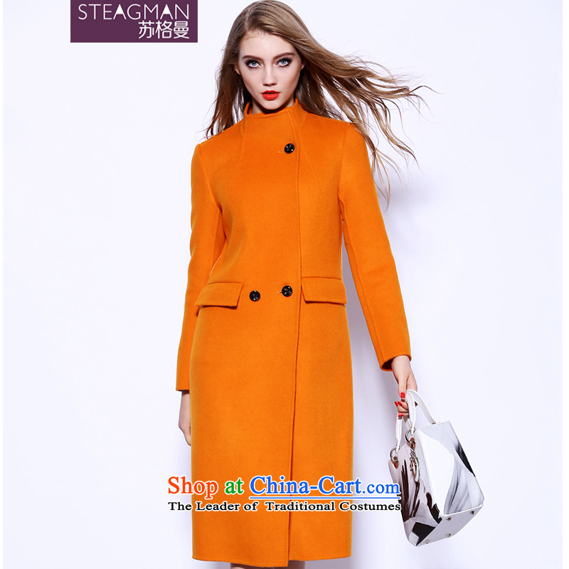 Su Ge Cayman 2015 autumn and winter new plain manual two-sided cashmere cloak? female gross in long wool coat female 80280? orange?XL