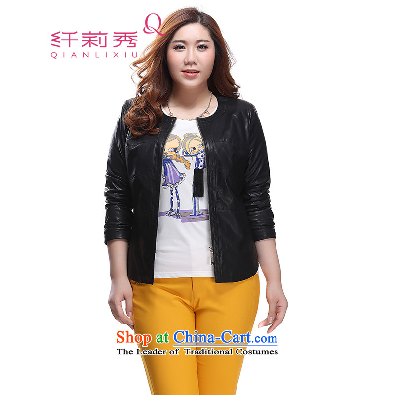 The former Yugoslavia Li Sau 2015 autumn large new mount female round-neck collar long-sleeved knocked the stitching leather jacket at 0839 hours black�L