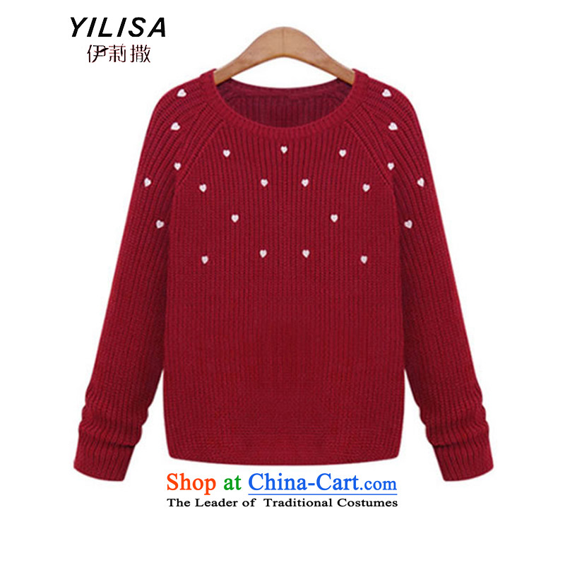 Elizabeth sub-autumn and winter new to xl Female European site fresh small sweater thick winter blouses, forming the MM Stretch loose heavy jackets female H2177聽5XL wine red