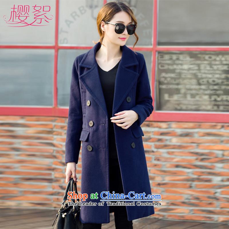 Sakura wadding2015 autumn and winter in new women's long hair female Korean jacket?   temperament coats YT22058 gross? NavyL