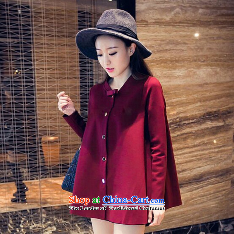 In short Ju to increase women's code thick mm new long-sleeved_ Choo forming the Netherlands thick sister autumn cardigan light jacket wine red�L