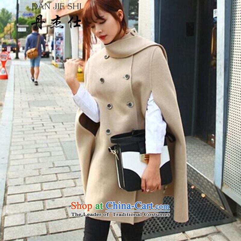 Dan Jie Shi�15 autumn and winter new Korean loose video thin cloak shawl coats female larger gross light jacket? khaki 645 S