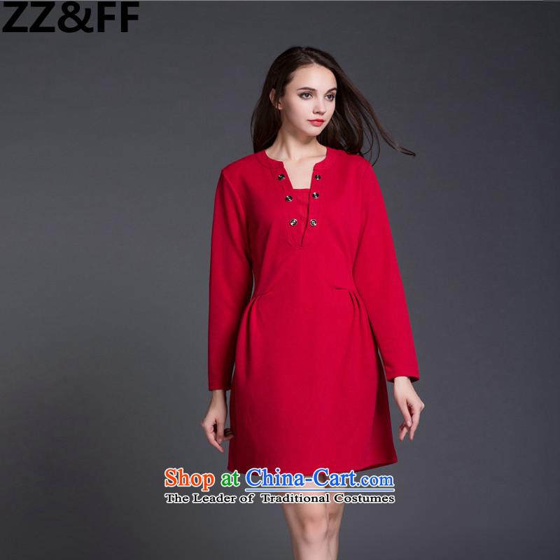 2015 Autumn new Zz_ff larger women's dresses thick MM THIN in the Video   long skirt wear long-sleeved red燲XXXXL