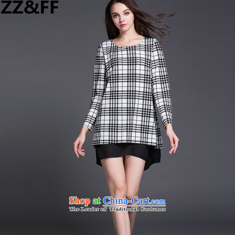 The Korean version of the autumn 2015 Zz_ff replace larger female thick MM loose gentlewoman latticed stitching chiffon long-sleeved dresses燲XXL color picture