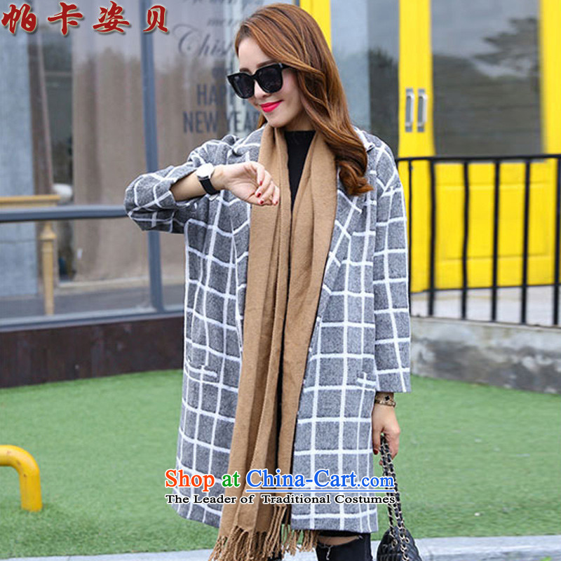 Pacar Gigi Lai Addis Ababa?  2015 Autumn new stylish suit for long-sleeved in grid long coats gross? The girl child_? Wind Jacket gray?XL