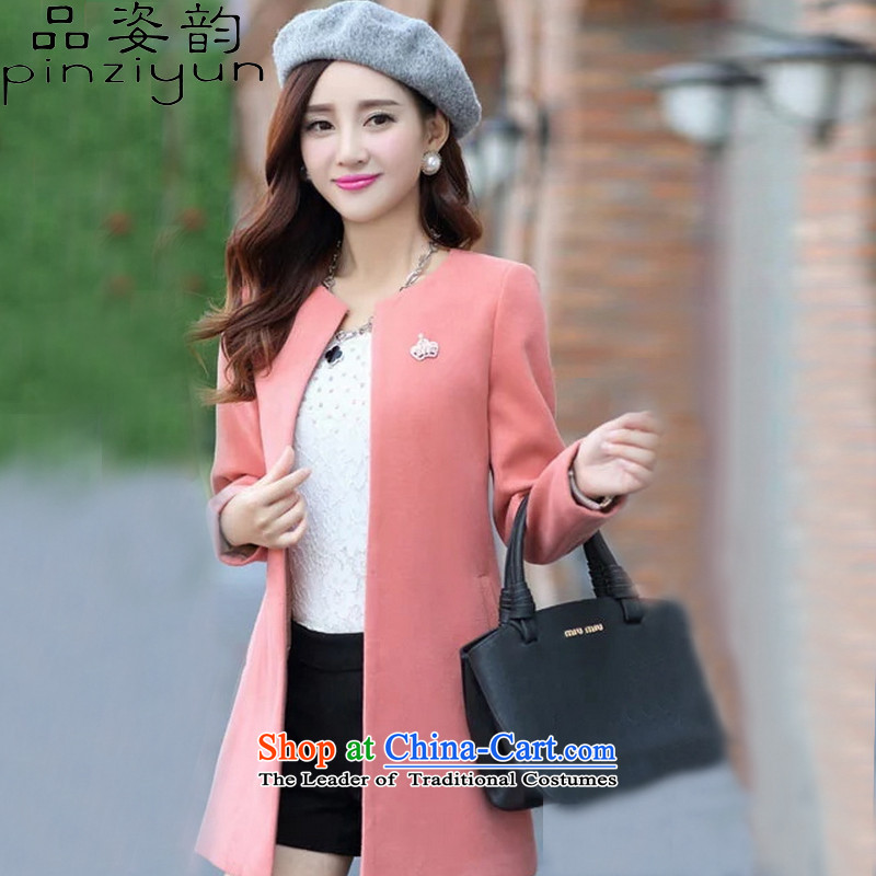 Gigi Lai following 2015, No. early winter coats? New Gross Korean version of large numbers of women in the long winter coats)? female cardigan windbreaker pink S