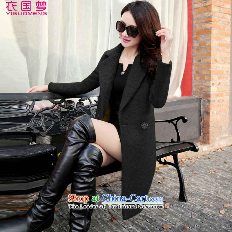 Yi Guo Meng gross? autumn and winter coats women 2015 replacing the new Korean version of Sau San over the medium to longer term of 1085 black jacket? M