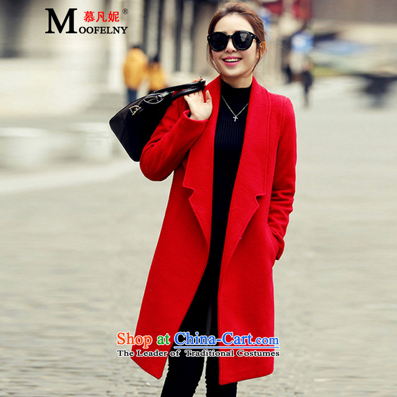 The Gross Stephanie? 2015 autumn and winter coats female new Korean version in Sau San long large thick a wool coat RED燤