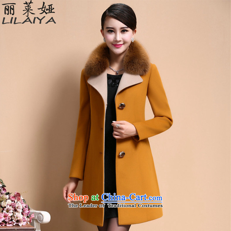 Polaroid Julia? coats female 2015 gross new products fall Couture fashion Korean fashion Sau San a wool coat in the thick Long Neck Jacket D740 gross Yellow�L