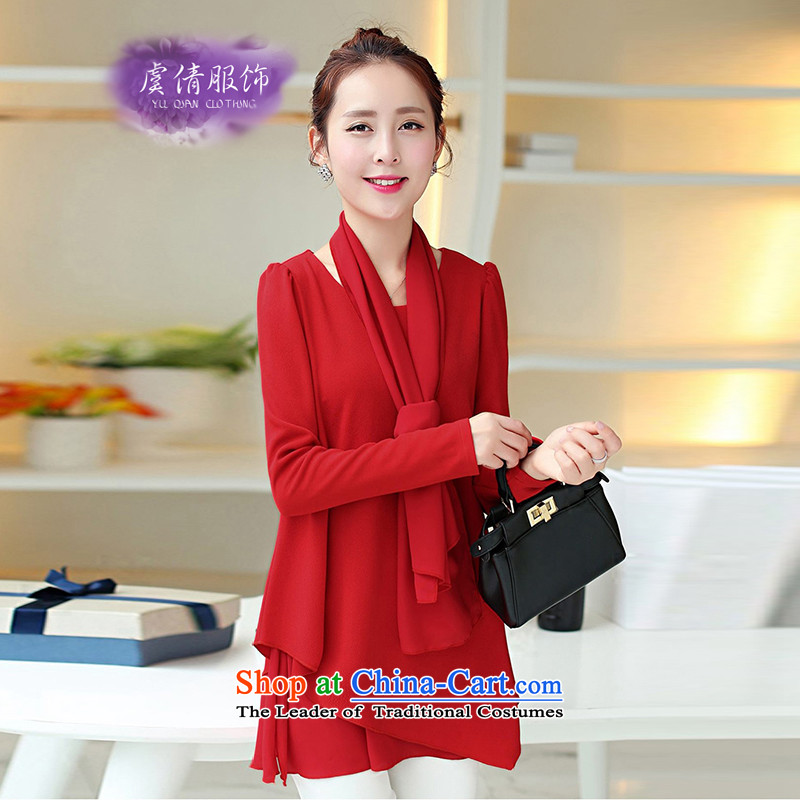 Yu Chien YQ autumn 2015 new liberal long-sleeved shirt, forming the basis for larger Y248 shirt red L