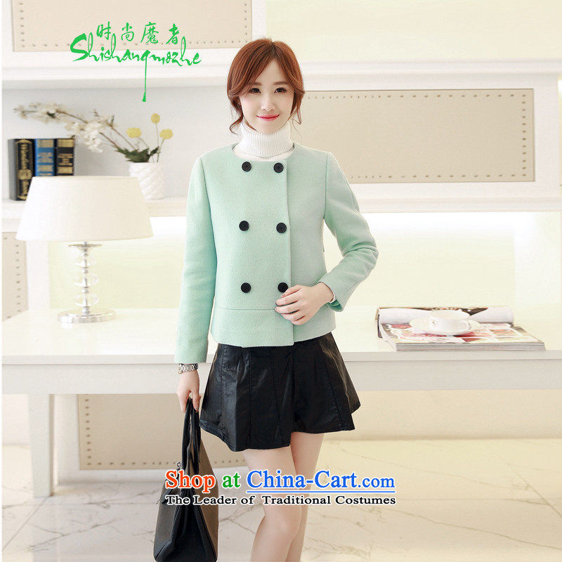 Stylish new devil of the 2015 Fall_Winter Collections of gross? jacket short double-Sau San wild shirt female 1-8801 water green?XL
