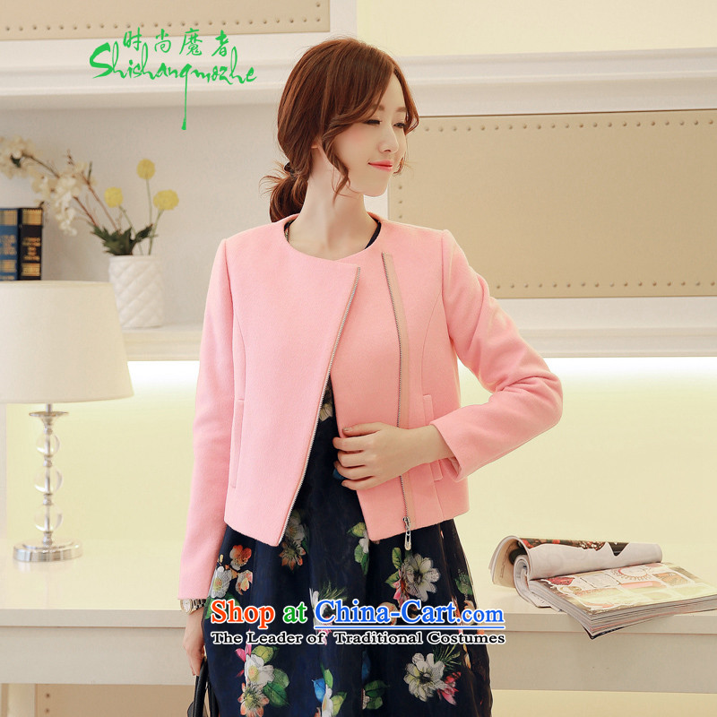 Stylish devil of the 2015 autumn and winter coats a new minimalist short, Zip Sau San wild Stylish coat female 1-8812 gross? pink M