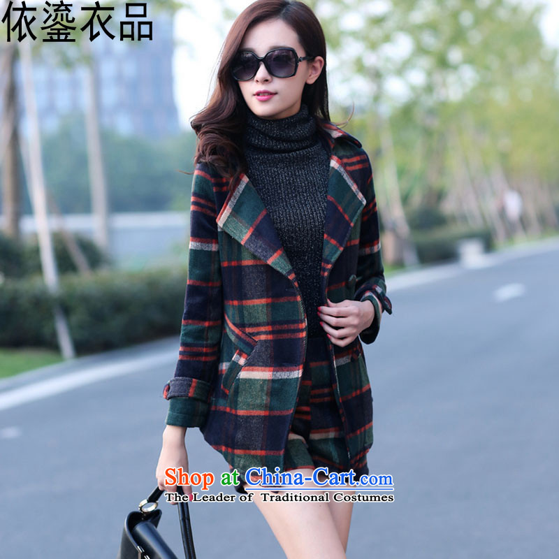 According to a 2015 autumn and winter clothing products female new Korean Sau San latticed two kits stylish girl video thin lapel long-sleeved Gross Gross Kit?? jacket coat shorts navy M