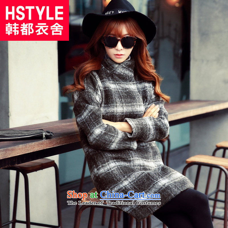 Korea has the Korean version of the Dag Hammarskjöld yi 2015 winter clothing new products with stylish youth in Sau San video thin long hair? jacket DL4530 latticed restaurant gray M