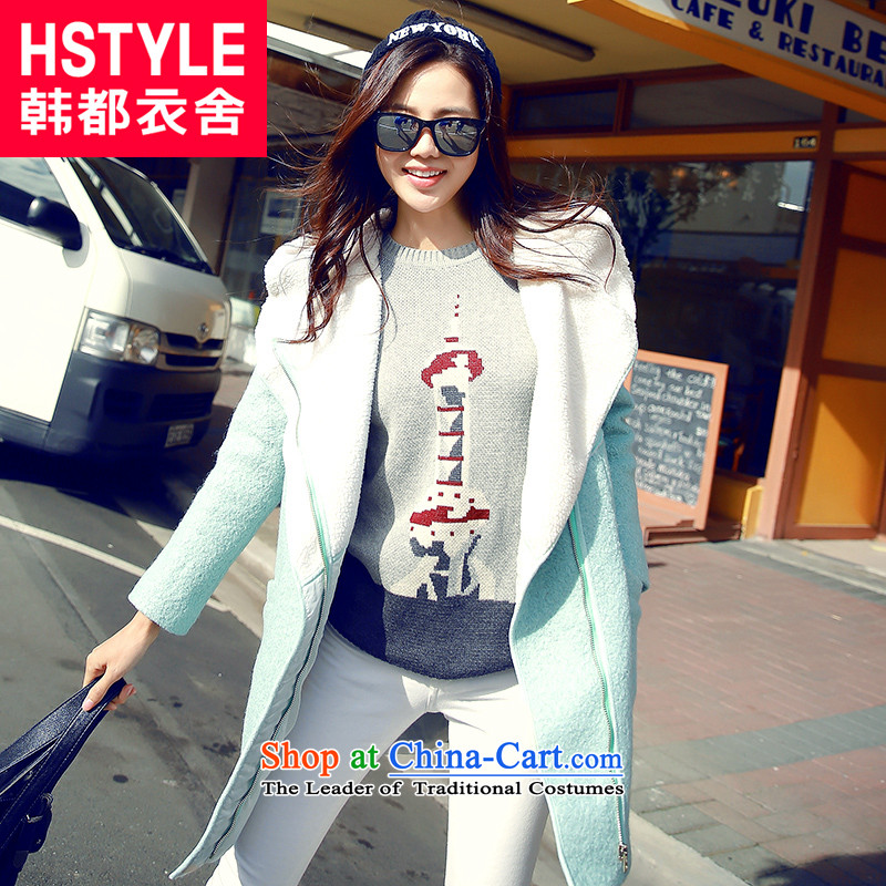 Korea has the Korean version of the Dag Hammarskjöld yi 2015 winter clothing new products with stylish youth Sau San video stitching in thin long cap DL4546 jacket restaurants? gross mint blue S