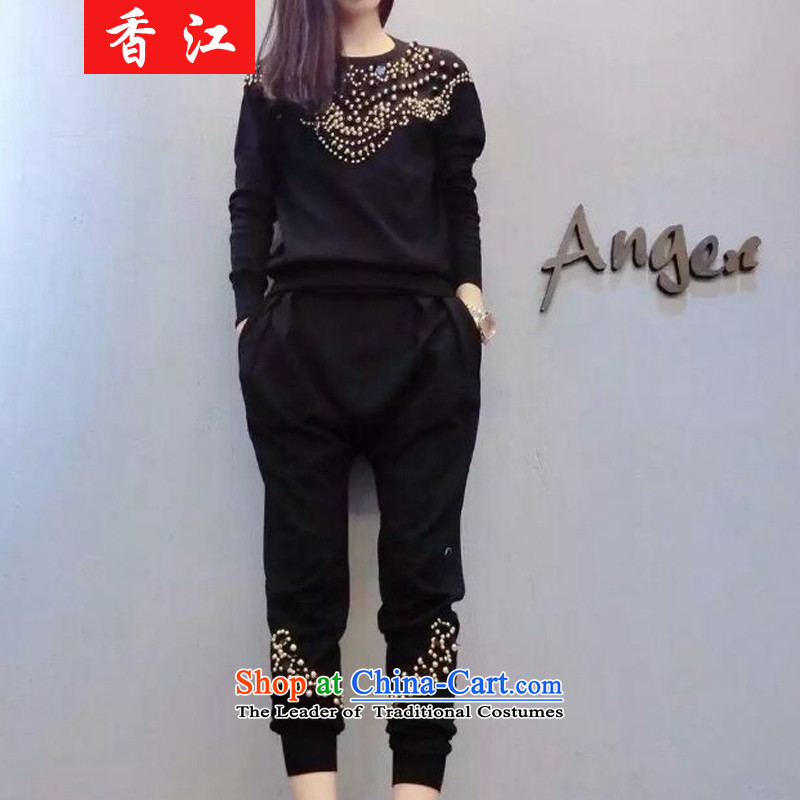 Xiang Jiang to increase women's code thick mm thin nail pearl video long-sleeved shirt knitted pants and two kit/200 catties fall thick sister 5891 replacing black large code 2XL recommendations 120-140 catty