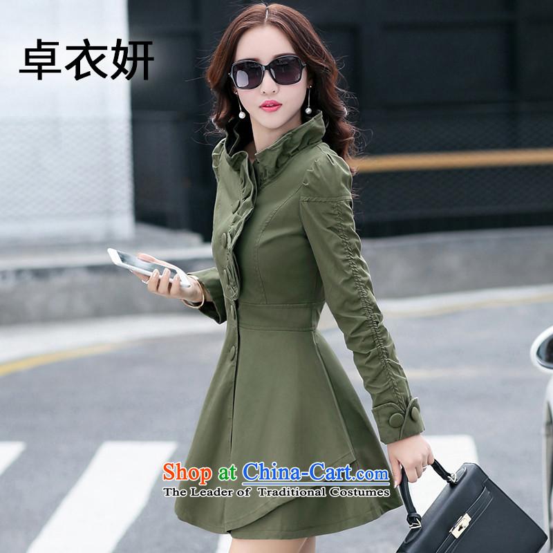Load New 1391_2015 autumn Mock-neck Sau San video thin casual jacket army greenL
